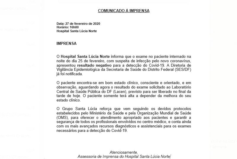 Nota Hospital Santa Lúcia