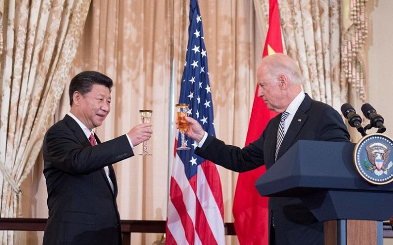 Joe Biden e Xi Jinping China e EUA brinde
